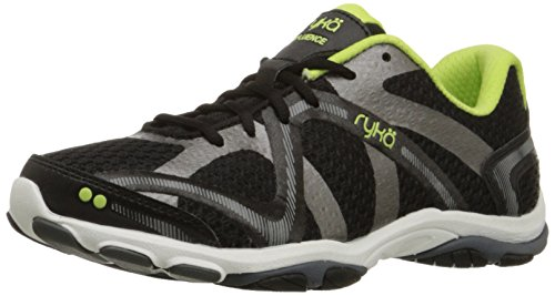 Ryka Women's Influence Cross-Training Shoe, Black/Sharp Green/Forge Grey/Metallic, 9 M US