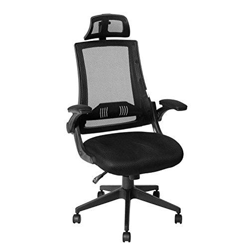 ack Mesh Office Chair - Adjustable Headrest,Flip-up Arms, 90°-110° Tilt Lock,Adjustable Back Lumbar Support Computer Desk Task Executive Chair,Black(BIMFA Certified) (Arm Chair Headrest)