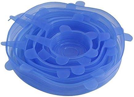 Juego de 6 tapas elásticas de silicona, reutilizables, duraderas y ...