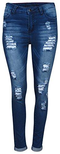 Super Skinny Denim (Roma Studio High Rise Distressed Roll Cuff Shaping Stretch Denim Skinny Jeans, Marble Blue, Size 11')