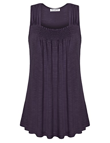 Pleated Wrap Top Shirt - Becanbe Sleeveless Tunic Tops,Juniors Pleated Scoop Neck A Line Solid Color Casual Loose Blouse(Voilet,X-Large)