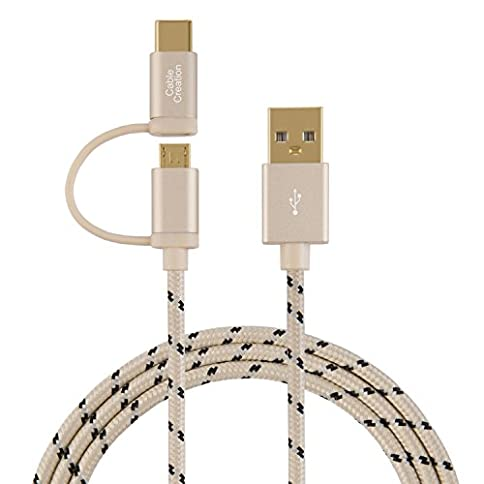 - 412jgpQcCDL - 2-in-1 USB C Micro USB Cable, CableCreation 4ft Braided USB Type C & Micro-B to USB A Fast Charge Cord, Compatible Sumsang Note 8, Pixel XL, Android and USB-C Devices,1.2 M/Khaki Aluminum