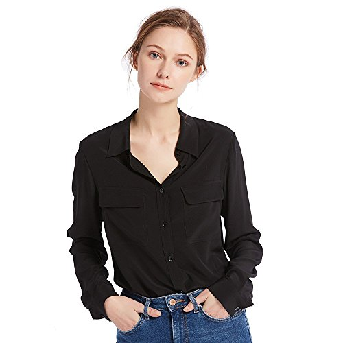 LilySilk Women's 100% Silk Blouse Long Sleeve Ladies Shirts 18 Momme Silk Black Size L