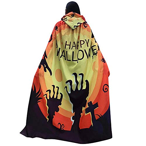 DEATU Halloween Costume, Novelty Pumpkin Print Cape Scarf Halloween Poncho Shawl/Costume Accessory (a-Yellow )