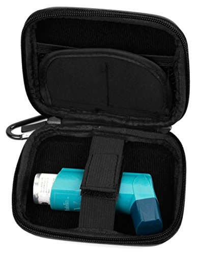 Sturdy Hardwearing Black Twin Zip Hard Carry / Storage Case with Belt Clip for Blue Inhalers Relievers for Asthma - by DURAGADGET