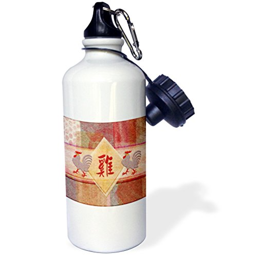 3dRose Beverly Turner Chinese New Year Design - Sign of the Rooster in Red, Lavender Roosters, Felt Look Abstract - 21 oz Sports Water Bottle (wb_244100_1)