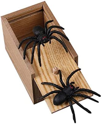 schwarz LovelysunshiDEany H/ölzerner Streich Spider Scare Box Fall Witz lebensechte lustige /Überraschung Gag Toy Tricky Toys f/ür Halloween