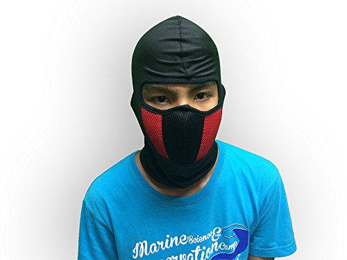 Commando Balaclava thin & smooth,right weight and comfort with air filter cleaner for dust and smoke protection motorcycle mask (red)