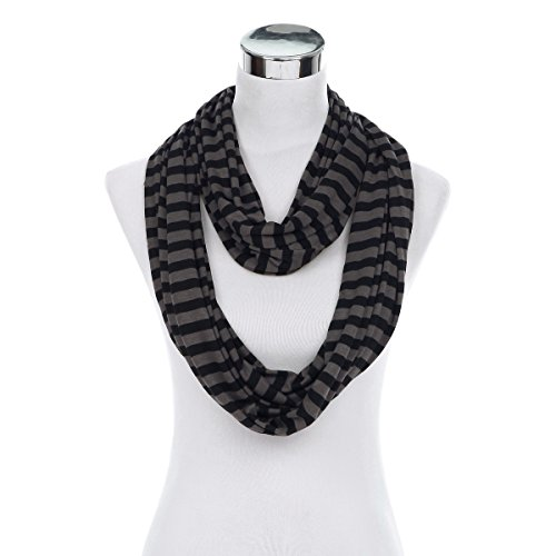Elegant Striped Infinity Loop Jersey Scarf, Brown