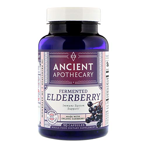 Elderberry Extract Organic (Ancient Apothecary Fermented Elderberry Supplement, 90 Capsules — Infused with Organic Essential Oils, Ashwagandha Extract and Digestive Bitters)