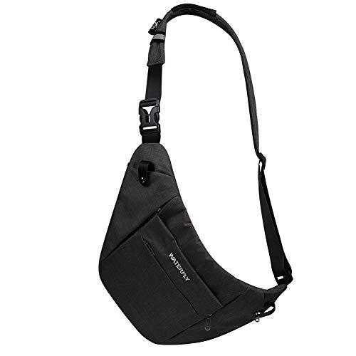 WATERFLY Crossbody Sling Bag Ultra-Light Flat Chest Bag Casu