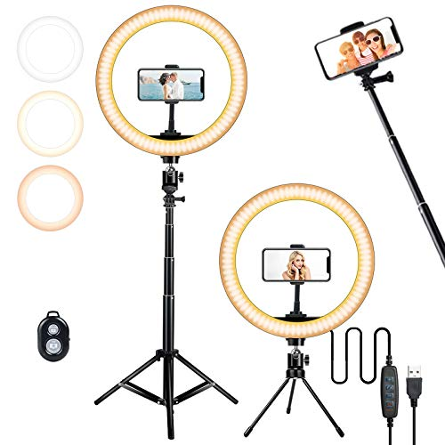 10.2in Selfie Ring Light 2 Tripod Stand 63in and 5.5in , CORNMI USB LED Desk Camera Ringlight 3 Modes 10-Level luminance Remote Control for Live Streaming Adjustable Tripod Stand/Selfie Stick for Makeup Camera Shooting YouTube Video tik tok