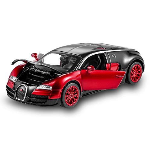 haomsj Bugatti Veyron 1:32 Alloy Diecast car Model Collection Light&Sound Red with Color Packaging ,Toys for Kids & Child ()