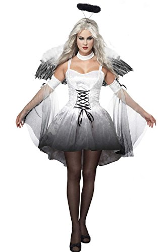 [ACEVOG Women Sexy Halloween Fallen Angel Demon Long Sleeve Scary Costome Dress] (Angel And Demon Costumes)