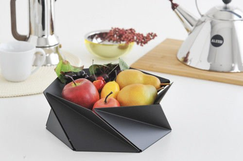 Alessi stainless steel bowl Kaleidos by Alessi. Designer Naoko Shintani. Stainless Steel Colored with Epoxy Resin. Black Color Basket. Unique Designer Home Decoration. Great Housewarming Gift.