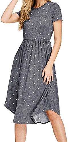 YUNDAI Women's Casual Summer Polka Dot Dresses Short Sleeve Midi Dress with Pockets (Gray, X-Small)