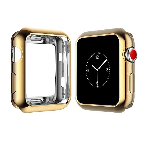500 Gold Series (Apple Watch 2/3 Case, Ultra-Thin Soft Full Coverage Case for Iwatch Series 2/3 (42mm) Screen Protector (Crystal Gold))