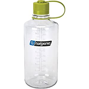 Nalgene Tritan 32 Ounce Narrow Mouth BPA-Free Water Bottle, Clear w Green