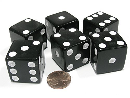 Jumbo Dice Set - Set of 6 D6 25mm Large Opaque Jumbo Dice - Black with White Pip by Koplow Games