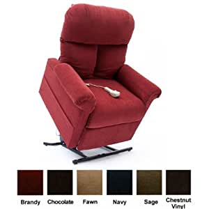 Mega Motion Power Easy Comfort Lift Chair Lifting Recliner LC-100 Infinite Position Rising Electric Chaise Lounger - Brandy Red Color Fabric