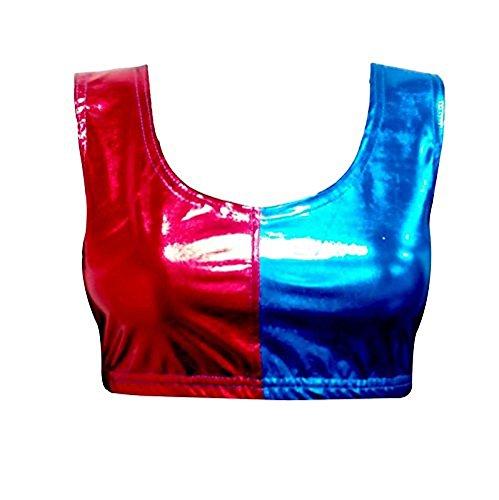 Ladies Harley Fancy Dress Squad Quinn Costume Set -Pick & Mix (L/XL (UK 12-14), Crop Top Red/Blue)