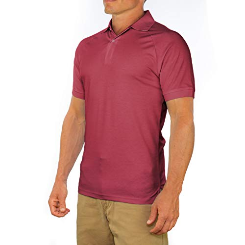 Comfortably Collared Men's Perfect Slim Fit Short Sleeve Soft Fitted Polo Shirt, Medium, Maroon