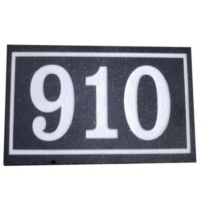 Granite address plaque black single border up to 5 numbers Carved Impressions