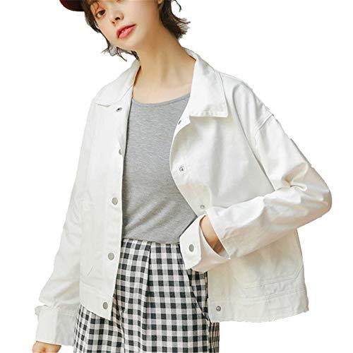 (Women's Basic Classic Boyfriend Denim Jacket Long Sleeve Loose Jean Coats(White Small))