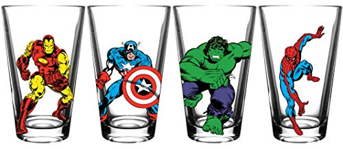 Marvel Avengers Collectible Pint Glass Set - Iron Man, Captain America, Hulk, Spider-Man - 16 oz. Glass Capacity - Perfect for Beer, Cocktails, or Soft Drinks