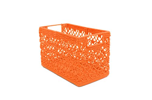 Heritage Lace Mode Crochet Wire Frame Basket, 12 by 7 by 8-Inch, Orange