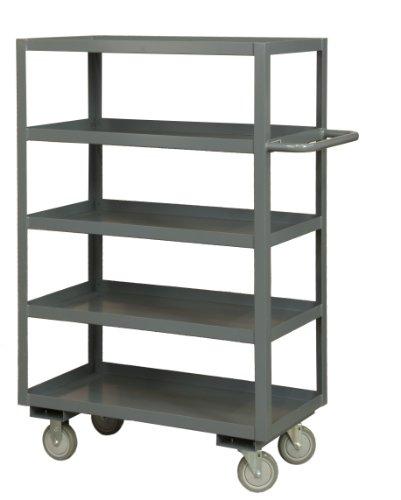 (Durham 14 Gauge Steel Rolling Service Stock Cart, RSC-2436-5-95,  1200 lbs Capacity,5 Shelves)