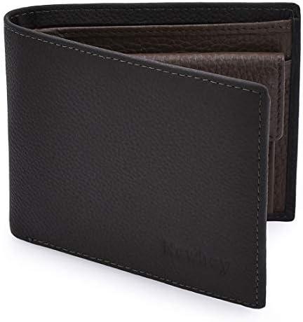 nuovo arrivo f160b 21daf NEWHEY Portafoglio Uomo Vera Pelle RFID Protezione Wallet 8 Tasche Per La  Carte con Portamonete Grigio