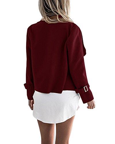 Blazers Color Outwear Outwear rojo Manga Vino Casual Chaqueta Sólido Larga Mujeres Jacket Casual wSIxFnUvnq
