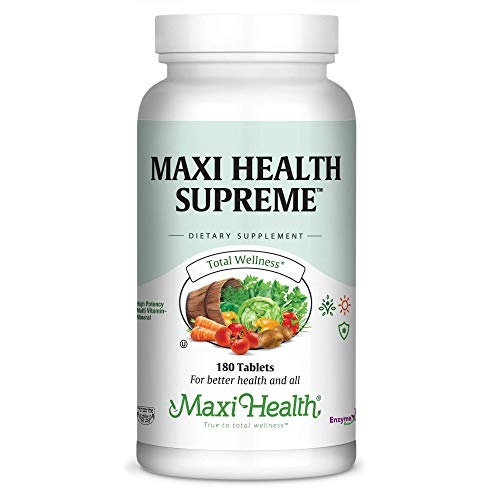 Tabs Health 180 Maxi Supreme - Maxi Health Supreme - High Potency Multivitamin & Mineral Supplement - 180 Tablets - Kosher