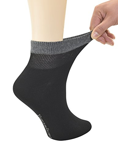 Yomandamor Women's Bamboo Diabetic Ankle Socks with Seamless Toe and Non-Binding Top,6 Pairs Size 9-11 by Yomandamor (Image #2)