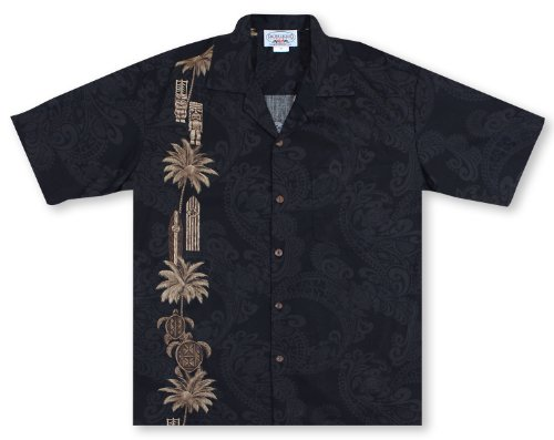 Pacific Legend Hawaiian Tiki Panel Aloha Shirt Black 2XL (Cotton Mens Aloha Shirt)