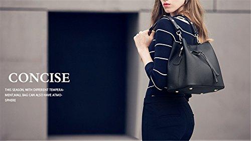 XinMaoYuan señoras bolso Otoño e Invierno bolsos de cuero Bolsos de cuero patrón lichi Drawstring Bolsa de hombro Negro
