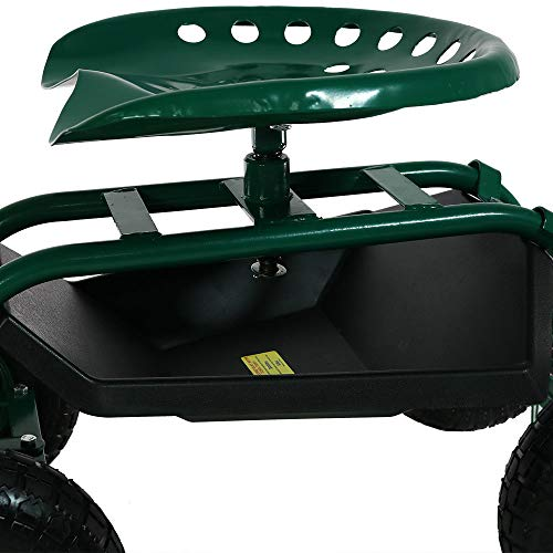 Sunnydaze Garden Cart Rolling Scooter with Extendable Steering Handle, Swivel Seat & Utility Basket, Green by Sunnydaze Decor (Image #9)