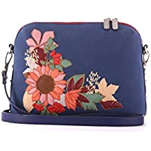 Alba Soboni Designed Women's PU Leather Zip Blue Embroidered Girl's Medium Casual Crossbody Bag