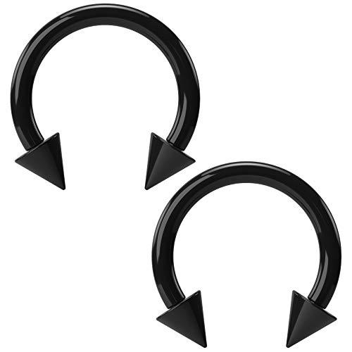 - Bling Unique 2pc 16g Acrylic Black Circular Barbell Horseshoe Earrings Daith Tragus Gauges Cartilage Lip Piercing