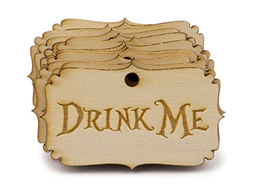 Summer-Ray 50pcs Alice in The Wonderland Wooden Party Favor Tags (Drink Me)