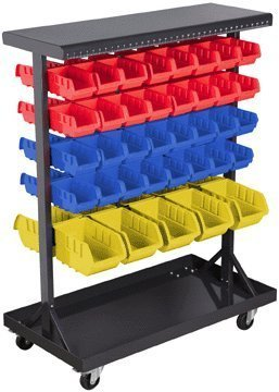 Mobile Double-Sided Floor Rack 36 x 12 x 45 with 74 Bins and Non-Marking Swivel Casters by Storehouse