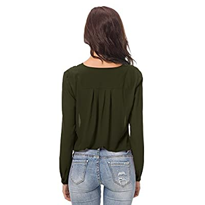 Urban CoCo Womens V Neck Ruffled Shoulder Solid Chiffon Blouse at Women's Clothing store