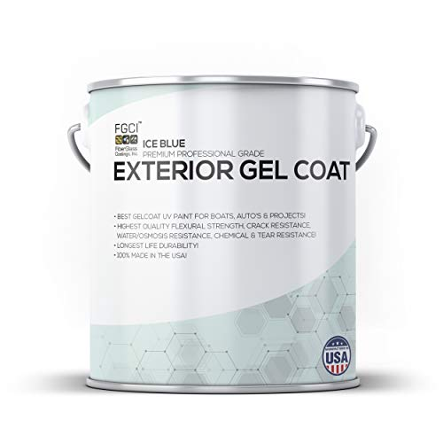 - ICE BLUE Boat Paint, EXTERIOR GEL COAT KIT, 1 Quart W/ 1 OZ MEKP, No Wax/Sanding, Fiberglass Coatings, Inc., PROFESSIONAL MARINE GELCOAT, Boat Exterior Hulls, Boat Interior Decking, DIY Projects