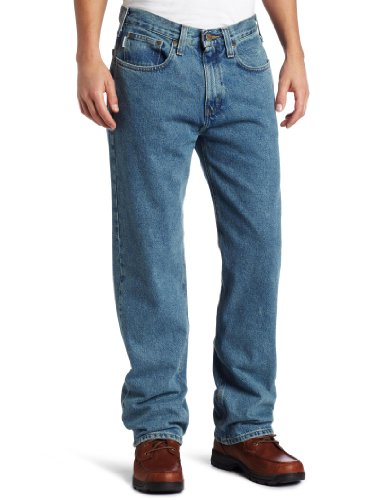 Carhartt Men's Relaxed Straight Denim Five Pocket Jean,Light Vintage Blue,34 x 36 (Denim Relaxed Fit)