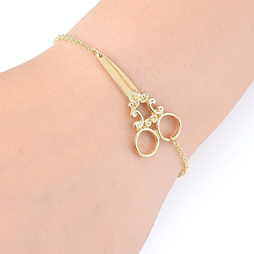 WLL Scissor Charm Bracelet Bangle Hairdresser Bracelet Hair Stylist Gifts