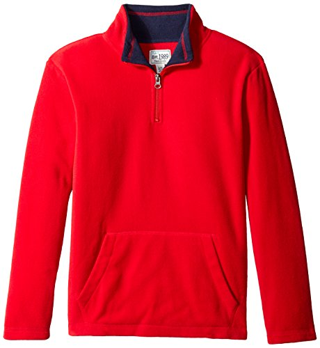 The Children's Place Big Boys' Solid Microfleece 1/4 Zip Top with Kangaroo Pocket, Classic Red, Medium/7/8