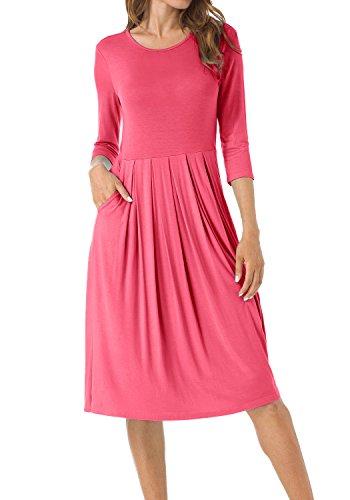 midi 3/4 sleeve dress - 1