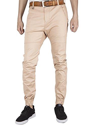 ITALY MORN Mens Chino Jogger Casual Pants Jogging Khakis Slim Fit Elastic Cuff (L, Cream Khaki) Khaki Cream