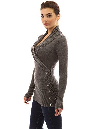 PattyBoutik Women Shawl Collar Faux Wrap Lace Up Sweater (Medium Gray X-Large)
